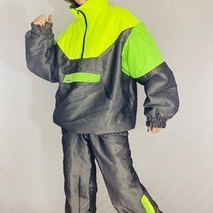 Vintage 80s men's Apple neon 2 pc ski suit